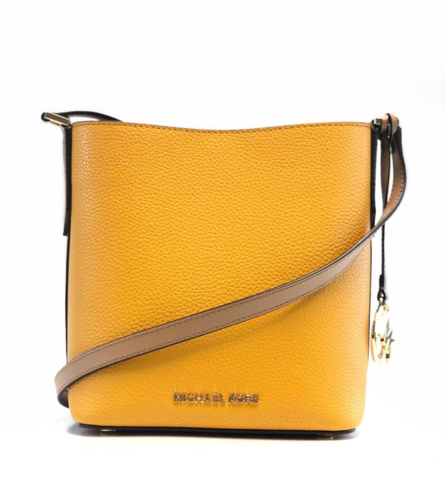 Michael Kors Women s Kimberly Small Pebbled Bucket B Marigold Leather Cross  Body Bag 5450fe8fb61e0