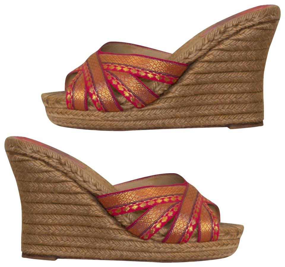 7866431dad5a Christian Louboutin Red Cataribbon Gold Wedges Size EU 38 (Approx ...