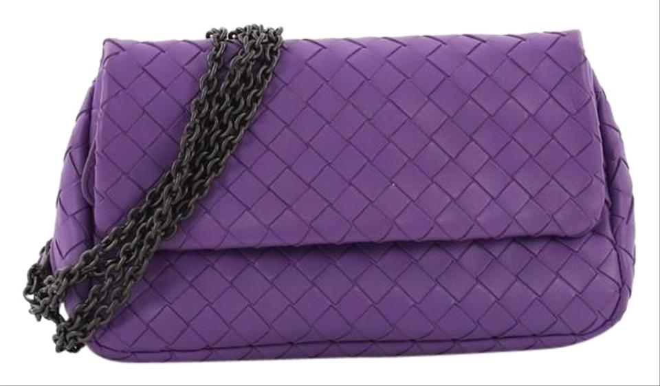 88fde6278afb Bottega Veneta Expandable Chain Intrecciato Small Purple Nappa Leather  Cross Body Bag