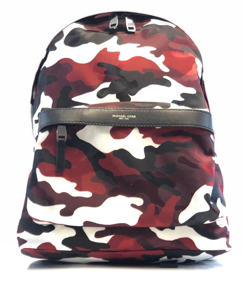 3b3f16fd6cbe Michael Kors Men s Kent Camouflage Bright Red White Nylon Backpack ...