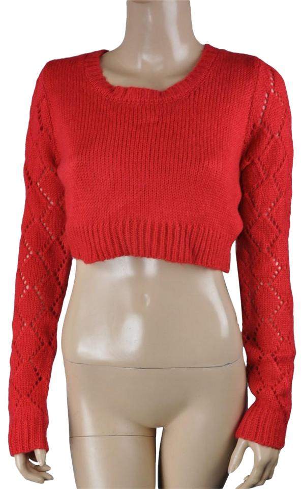 Lucca Couture Long Sleeve Soft Knit Cropped Red Sweater - Tradesy be888199a