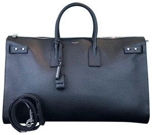 Saint Laurent Leather Sac De Jour 48 Duffle Tote in Black