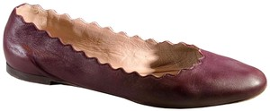 Chloé Leather Ballet Scalloped Oxblood Flats