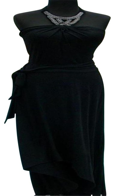 Item - Black Halter Top New Ruched Embellish Hi Low Event 4/6 Long Night Out Dress Size 6 (S)
