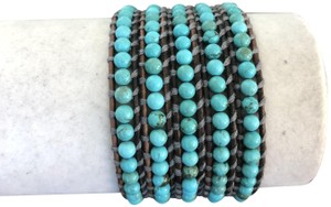 Chan Luu New Auth Chan Luu Turquoise Five Wrap Bracelet on Natural Grey Leather