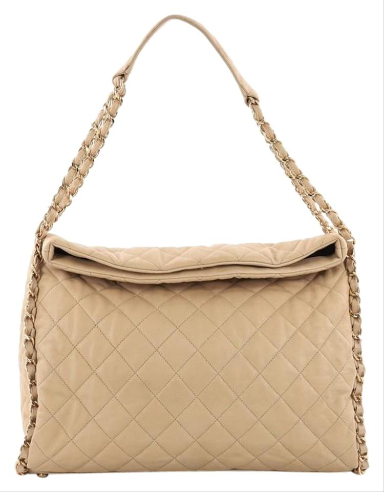 Chanel Hobo Chain Me Quilted Large Beige Leather Hobo Bag - Tradesy 7298bbdfe1f9f
