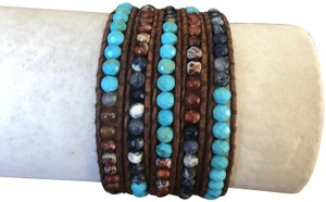 Chan Luu New Auth Chan Luu Turquoise Agate Mix Five Wrap Bracelet on Brown Leat