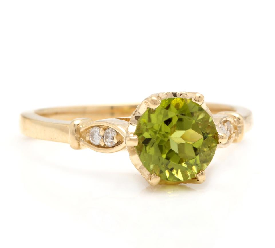 a73e77a46ee2c Yellow Gold 1.58 Carats Natural Peridot and Diamond 14k Solid Ring 72% off  retail