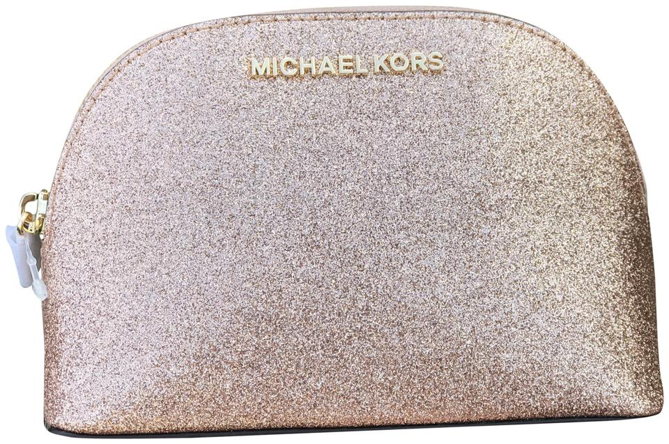 369073604261 Michael Kors Giftables Large Trave Pouch Cosmetic Case Makeup Rose Gold  Leather Clutch