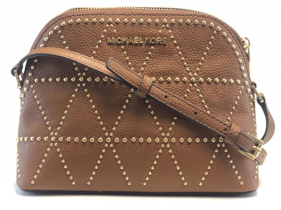 60bfc52893d7 Michael Kors New Women's Adele Studded Luggage Dome Brown Leather Cross  Body Bag