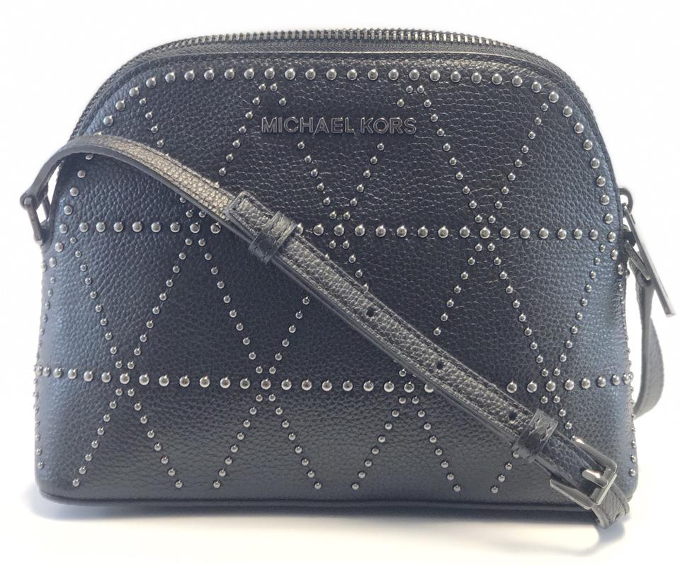 Michael Kors New Women s Adele Studded Dome Black Leather Cross Body ... 294e691f222fd