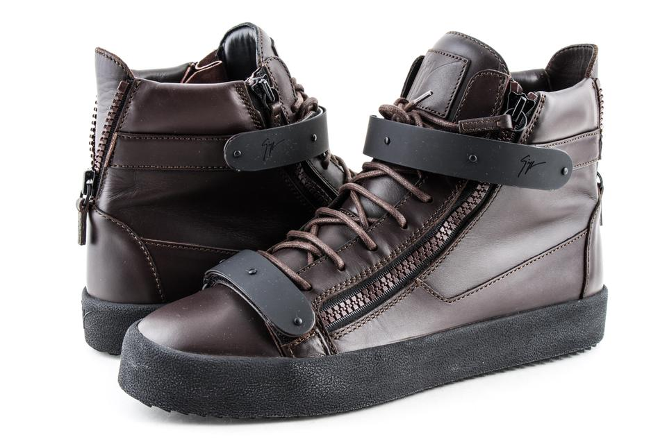 c7232f42d73f5 Giuseppe Zanotti Brown Men's Brown/Black Double-strap High-top Sneaker Shoes  Image ...