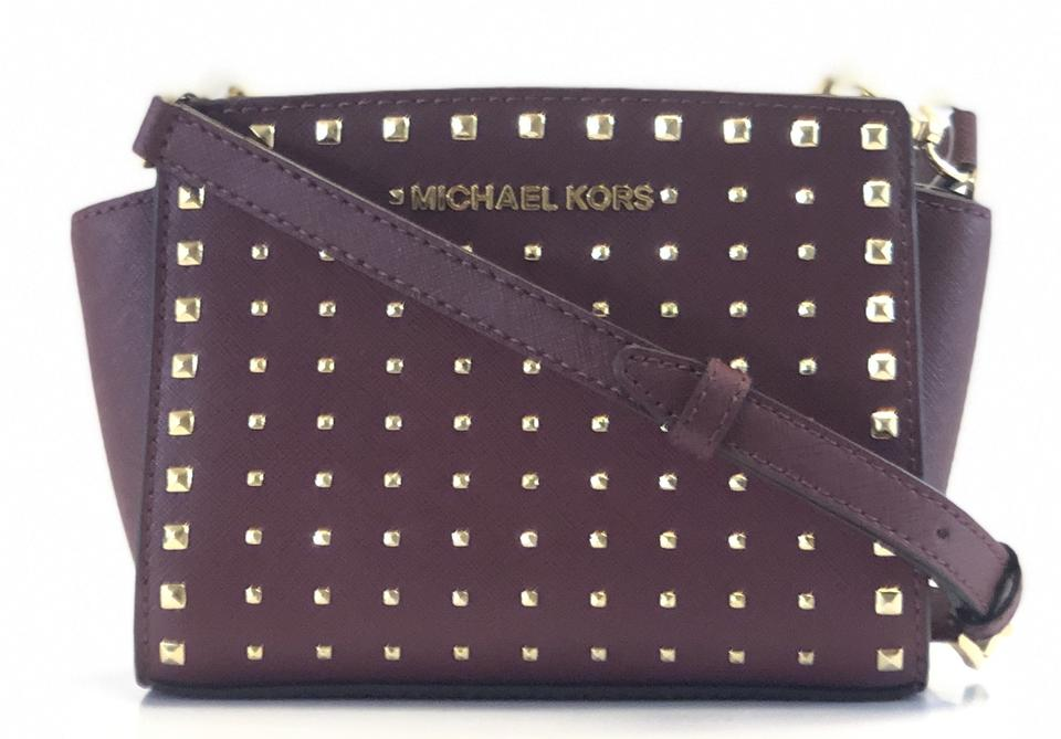 Michael Kors New Women s Selma Stud Mini Merlot Leather Cross Body ... 53b54f19b83c0