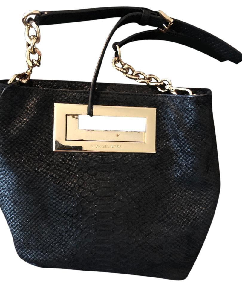 f97247b6f26c Michael Kors Berkley Medium Embossed Black and Gold Python Skin Leather  Messenger Bag