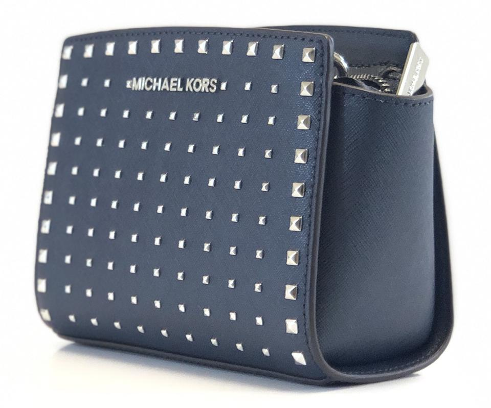 Michael Kors New Women s Selma Stud Mini Navy Leather Cross Body Bag ... 0ec59f04aec24