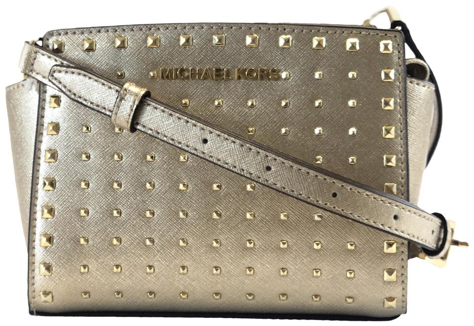 e346e9c66aa3b Michael Kors New Women's Selma Mini Gold Leather Cross Body Bag ...