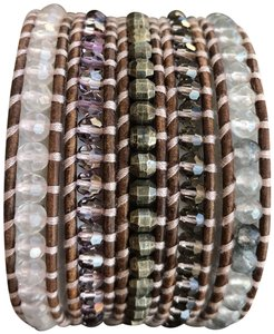 Chan Luu New Auth Chan Luu Rose Quartz Mix Five Wrap Bracelet on Natural Brown