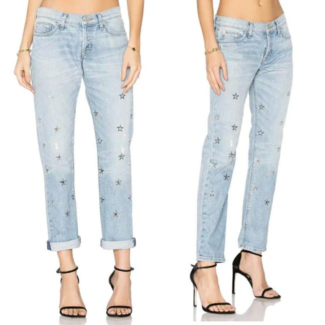 Item - Blue Light Wash Riley Star Embroidered Boyfriend Cut Jeans Size 26 (2, XS)
