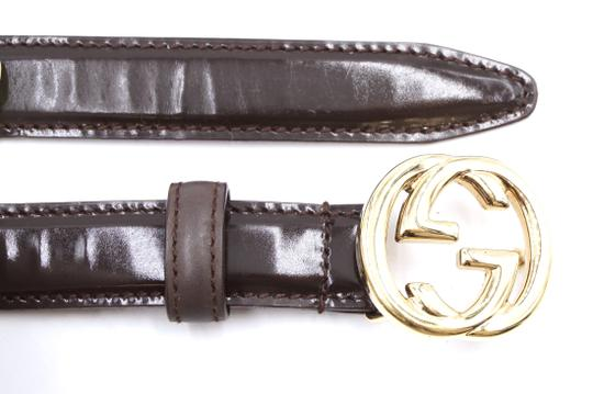 Gucci GG gold Buckle logo Leather Belt Size 70 28