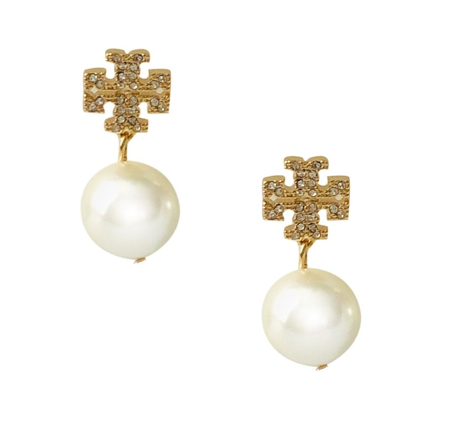 d2e2b1288 Tory Burch Gold Small Crystal Pave Pearl Drop 16k Ivory Earrings ...