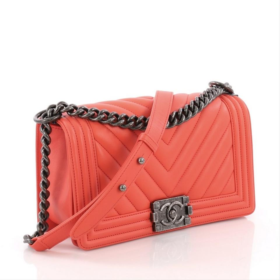 c807a07088e9 Chanel Classic Flap Boy Chevron Calfskin Old Medium Orange Leather ...