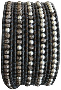 Chan Luu New Auth Chan Luu Grey Pearl Mix Five Wrap Bracelet on Natural Grey Le