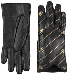 Gucci NIB Gucci leather gloves with Double G stripe print - size S / 7