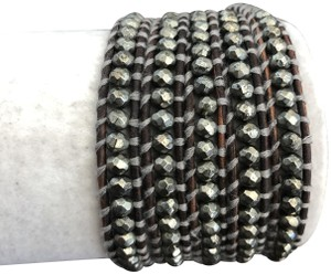 Chan Luu New Auth Chan Luu Pyrite Five Wrap Bracelet on Natural Grey Leather