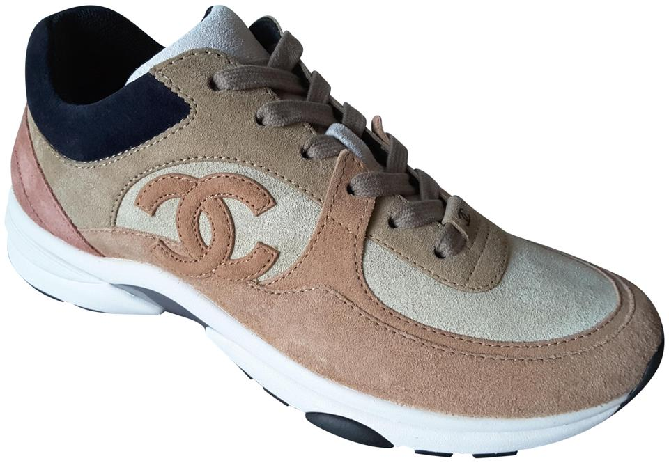 b5f27777083a Chanel Brown Beige Suede Calfskin Cc Logo Low Top Lace Up Sneakers ...