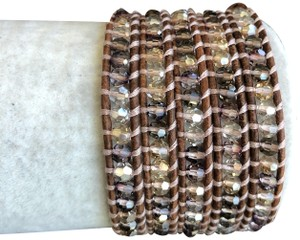 Chan Luu New Auth Chan Luu Crystal Mix Five Wrap Bracelet on Natural Brown Leat