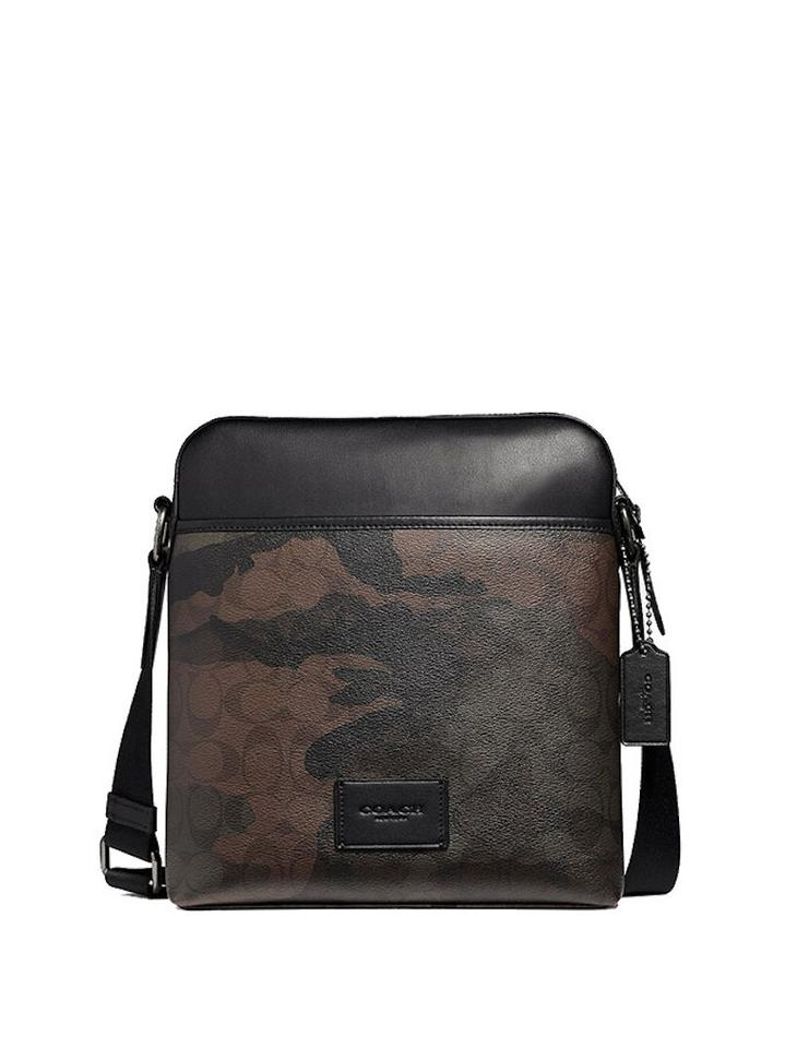 d75a8939ef Coach New Men s (F37611) Halftone Camo Signature Messenger Green Pvc ...