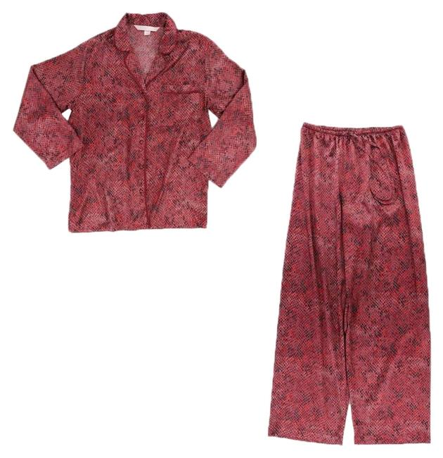 Item - Pink Rose Ruby Pjs Pajamas with Contrast Piping On Collar Feminine Classic Activewear Top Size 6 (S)