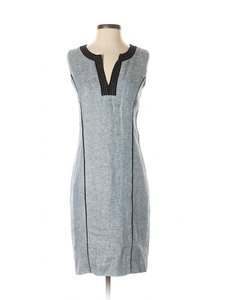 Ellen Tracy short dress Blue Sheath Linen V-neck Sleeveless on Tradesy