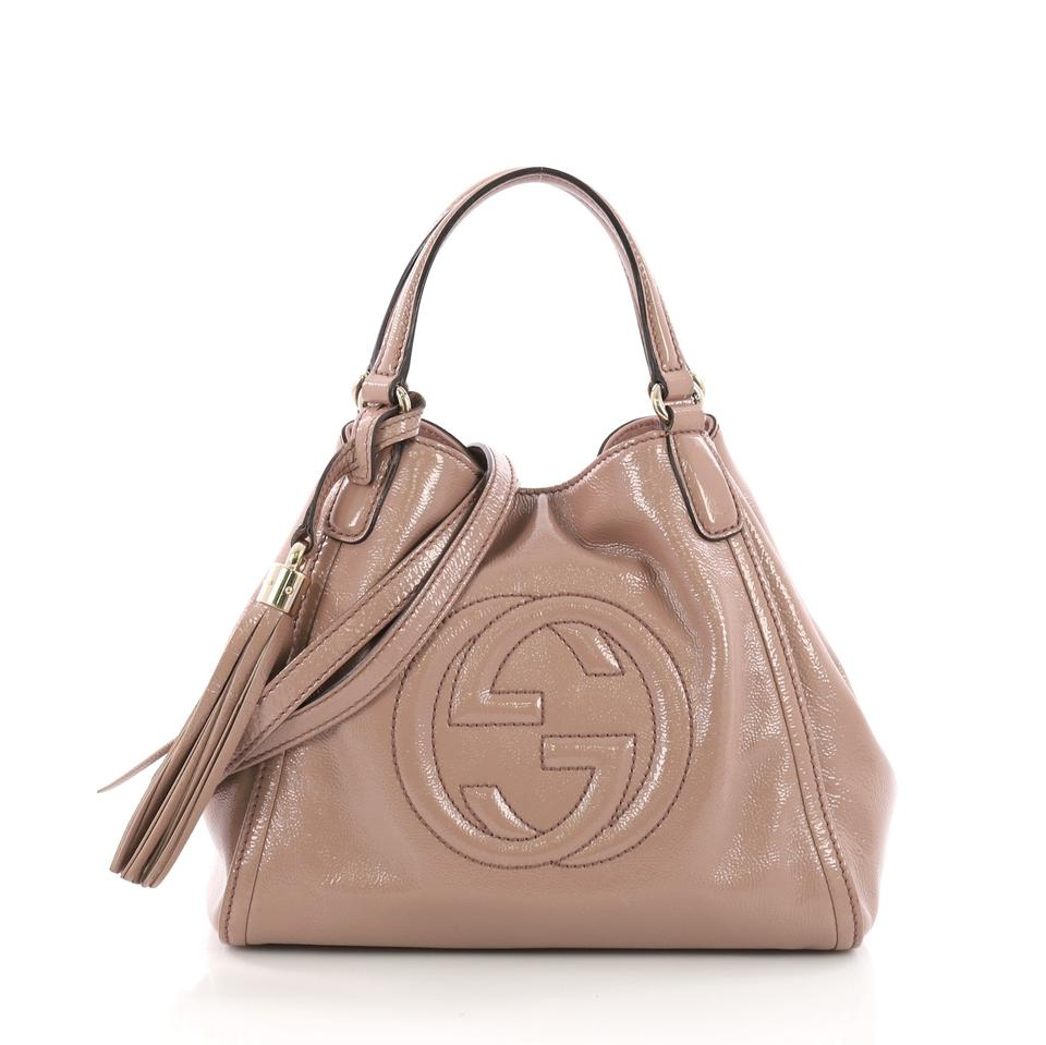 ef4a1cc963a3 Gucci Soho Convertible Small Light Pink Patent Leather Shoulder Bag ...