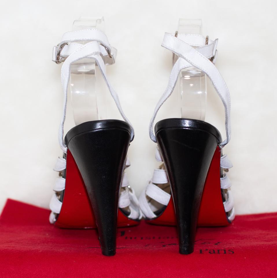 e9b61d35d6e6 Christian Louboutin Black And White Strappy Chunky Pumps Size EU 40  (Approx. US 10) Regular (M