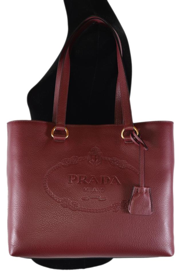 722ea55fe5d97 Prada New Vitella Daino Embossed Logo Handbag Purse Cerise Leather ...
