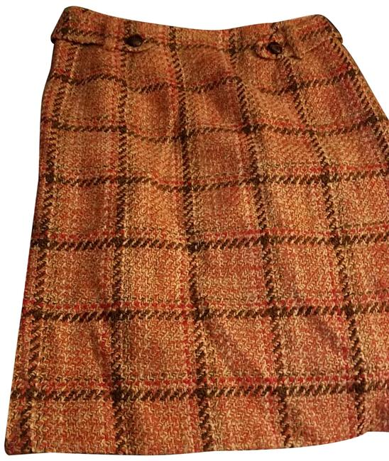 Item - Multi Brown Plaid and Leather Skirt Size 12 (L, 32, 33)