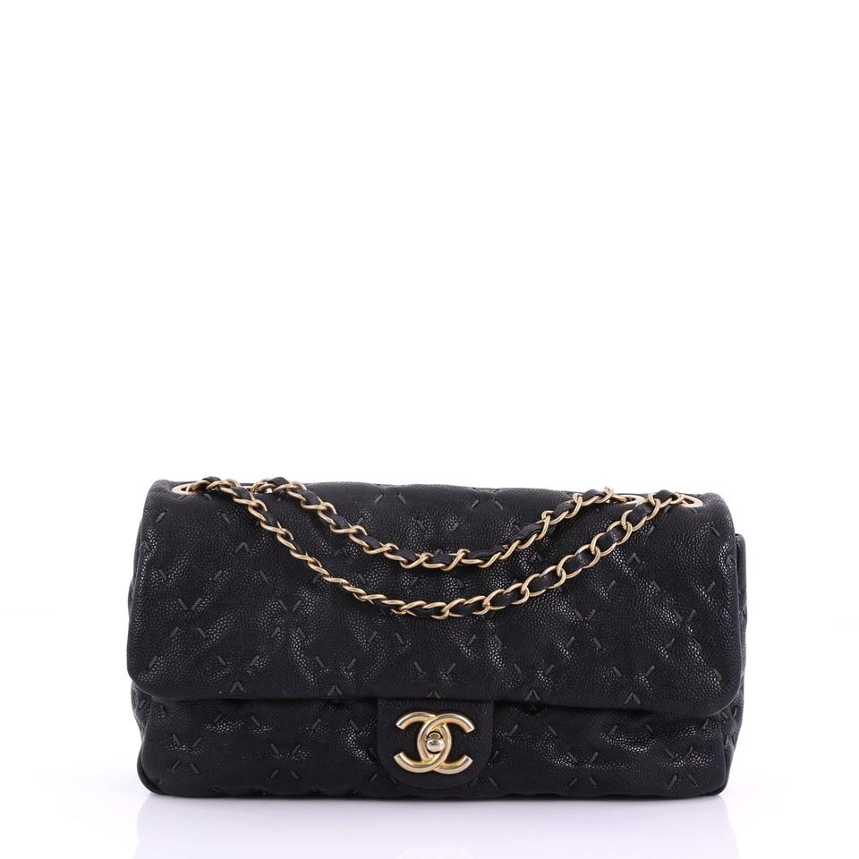 437e7ca58f7c Chanel Classic Flap Wild Stitch Quilted Caviar Large Black Leather Shoulder  Bag