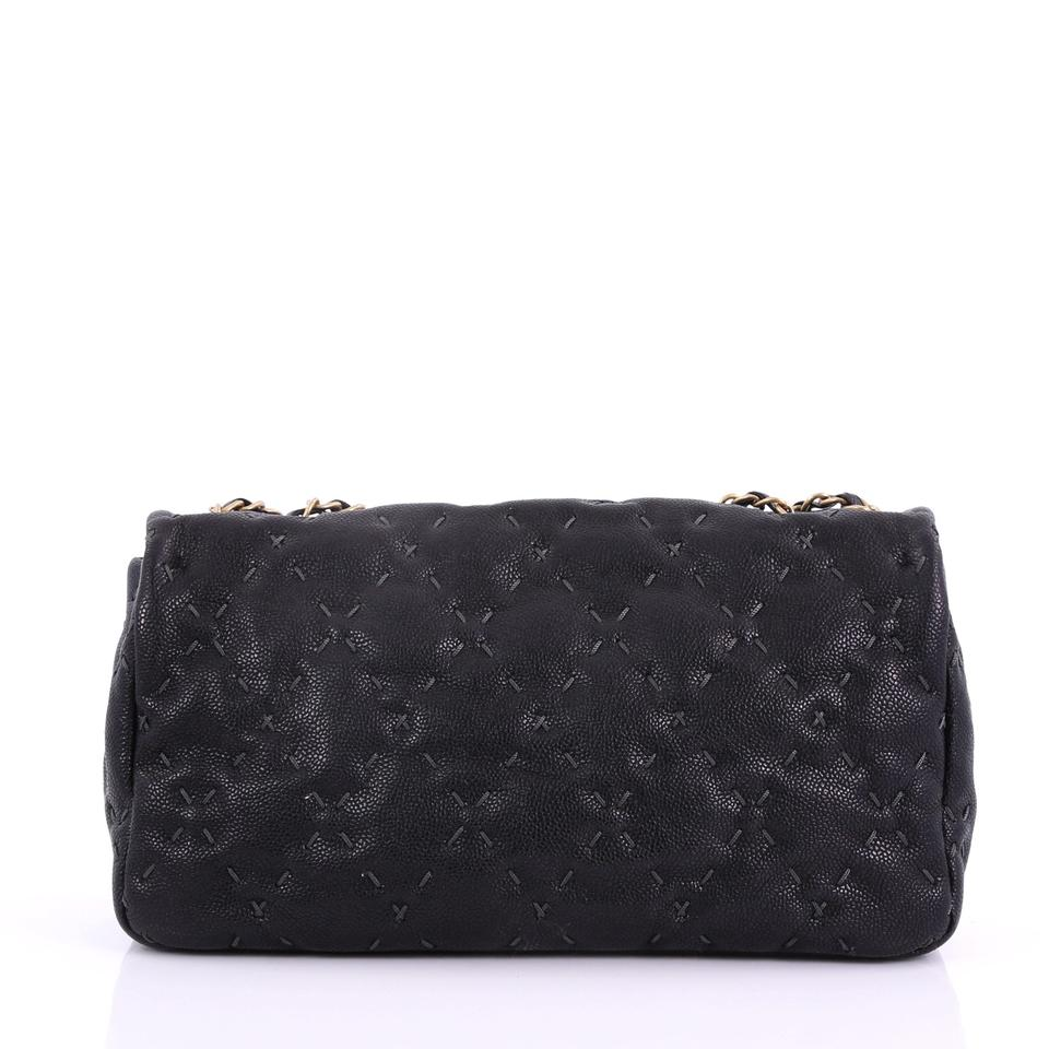 789d8ed7f16c45 Chanel Classic Flap Wild Stitch Quilted Caviar Large Black Leather Shoulder  Bag - Tradesy