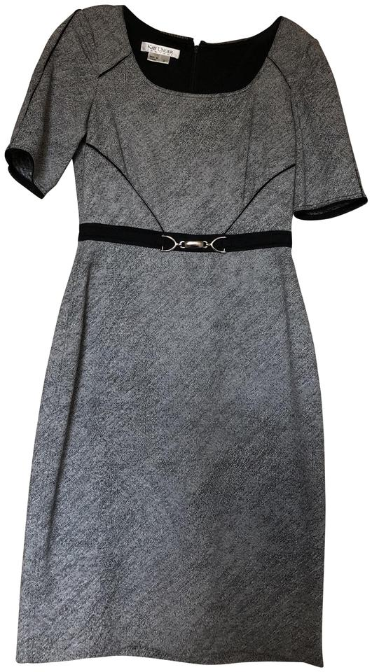 Kay Unger Black White Belted Pencil Workoffice Dress Size 2 Xs