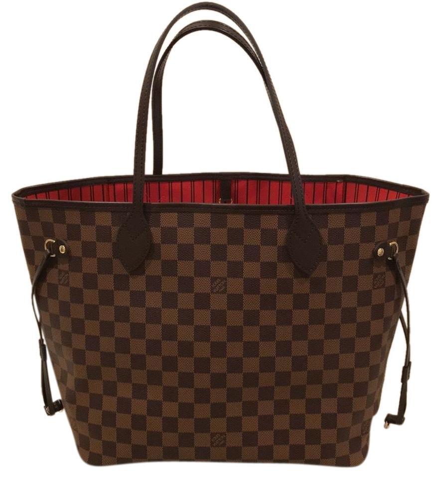 18a1dc1cf951 Louis vuitton neverfull red damier ebene coated canvas tote tradesy jpg  885x960 Louis vuitton damier canvas