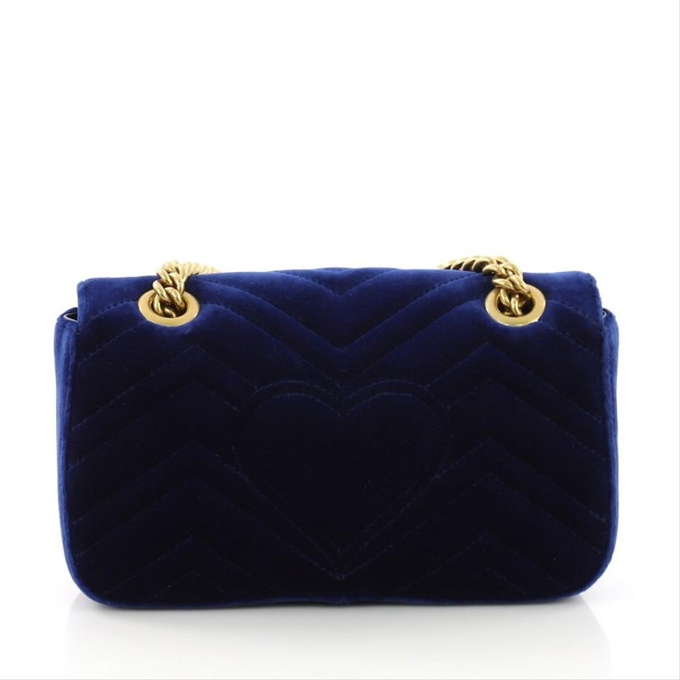 1e9531c1c54 Gucci Marmont Gg Flap Matelasse Mini Blue Velvet Shoulder Bag - Tradesy