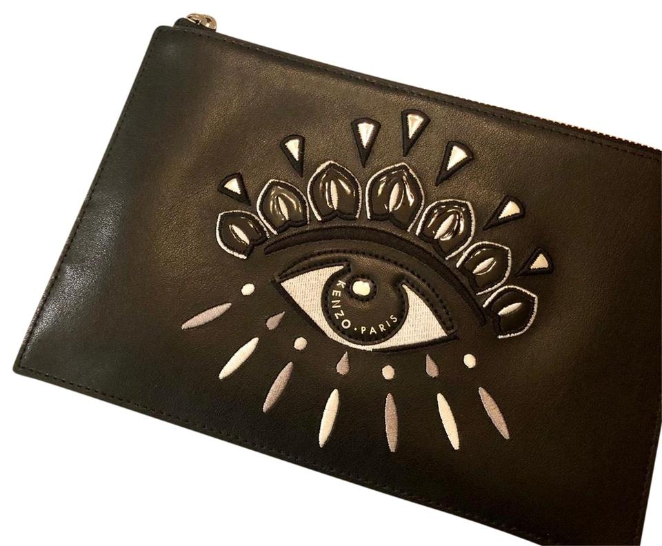 116e31e2cff Kenzo Eye A5 Pouch Black Leather Wristlet - Tradesy