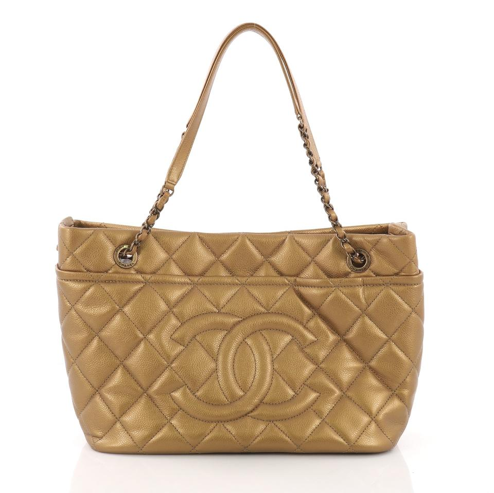 7c3281bb6d0077 Chanel Timeless Cc Soft Quilted Caviar Medium Metallic Gold Leather Tote