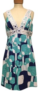 Trina Turk short dress Blue multi on Tradesy