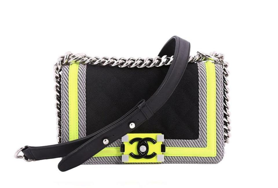 4479b89b44e624 Chanel Boy Fluo Rare Limited Edition Small Sport Black + Neon Green ...