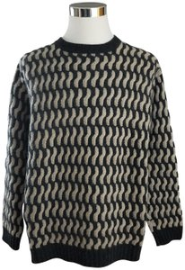 Saks Fifth Avenue Ships In 24 Hours Light Grey+charcoal Soft Cashmere 3-ply Heavy Knit No Wear Noted Sweater