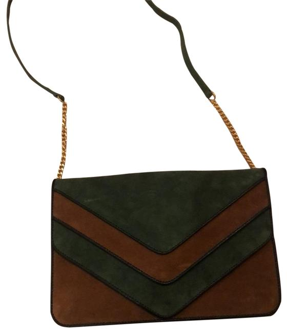 Item - Green and Brown Suede Leather Cross Body Bag