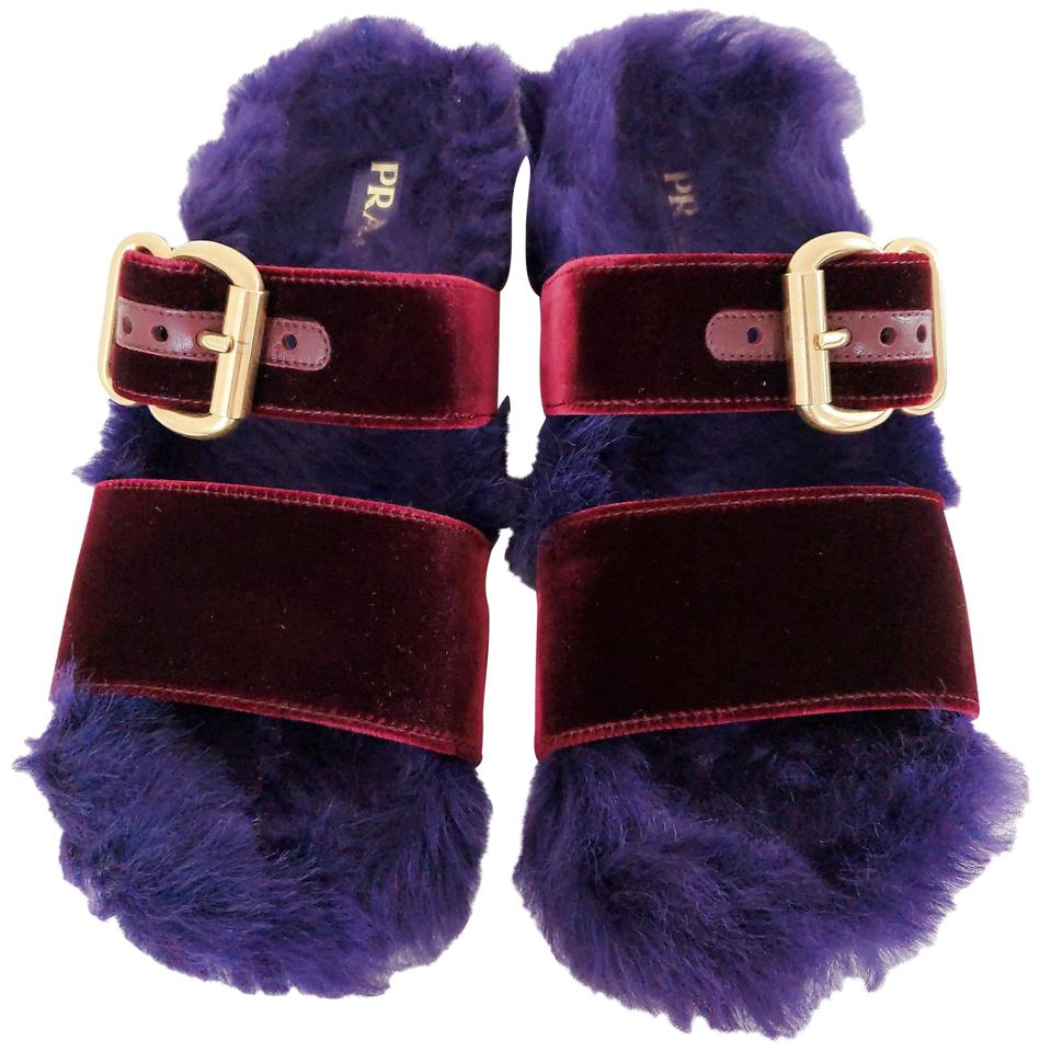 2688776a5f0 Prada Burgundy Purple Fur Velvet Slide Flats Size EU 37 (Approx. US ...
