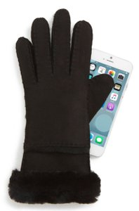 UGG Australia Black Ugg® Seamed Touchscreen Compatible Gloves with Genuine Shearling